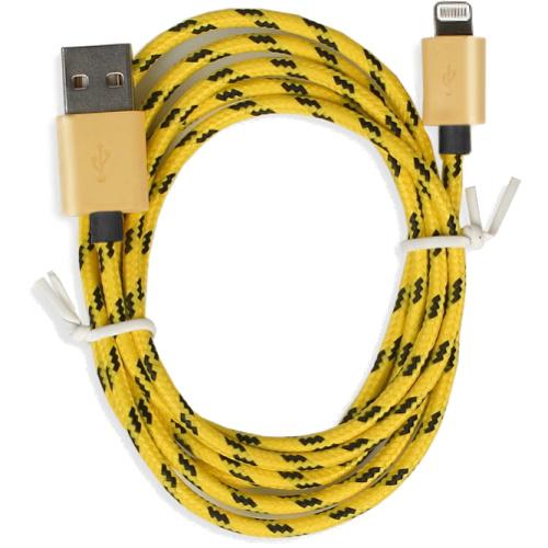 Кабель Smartbuy USB — 8-pin для Apple (iK-512met) золотистыйКабели Lightning<br>Кабель Smartbuy USB — 8-pin в нейлоновой оплетке, которая делает его практически неразрывным.<br><br>Цвет товара: Золотой<br>Материал: Нейлон, пластик, металл
