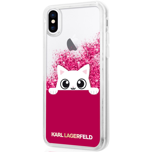 Чехол Karl Lagerfeld Liquid Glitter Choupette «Peek a Boo» для iPhone X розовый FuchsiaЧехлы для iPhone X<br>Чехол Karl Lagerfeld Liquid Glitter — это больше чем чехол, это настоящее украшение!<br><br>Цвет товара: Розовый<br>Материал: Термопластичный полиуретан