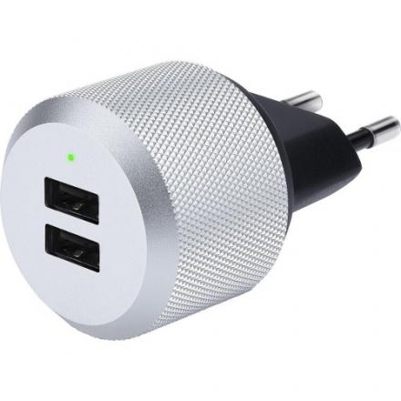 Cетевое зарядное устройство Just Mobile AluPlug AC AdapterСетевые зарядки<br>Сетевая зарядка Just Mobile AluPlug AC Adapter 5W USB 2 - port 2.4A<br><br>Материал: Пластик, металл