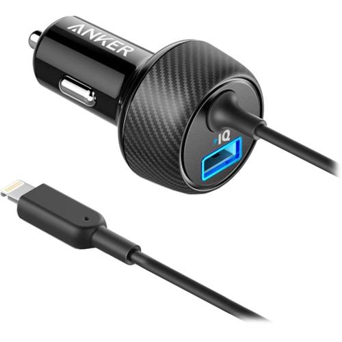 Автомобильное зарядное устройство Anker PowerDrive Elite 2 + Lightning Connector (A2214H11) чёрноеАвтозарядки<br>Anker PowerDrive Elite 2 — это компактное ЗУ, которое оснащено встроенным кабелем Lightning, а также стандартным USB портом.<br><br>Цвет товара: Чёрный<br>Материал: Пластик, карбоновое волокно