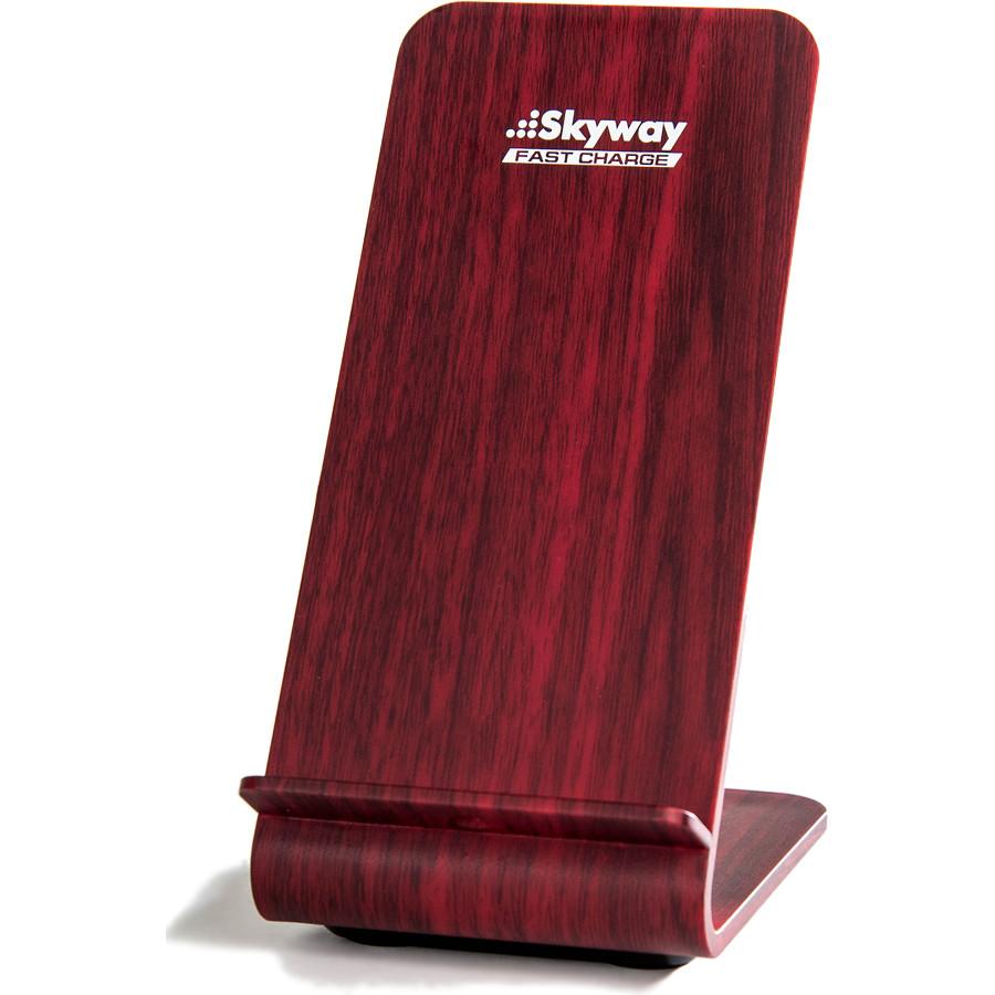 Беспроводное зарядное устройство Skyway Energy Fast тёмное деревоСетевые зарядки<br>Skyway Energy Fast позволяет зарядить смартфон в 2 раза быстрее, нежели от обычной сетевой зарядки.<br><br>Цвет товара: Красный<br>Материал: Пластик