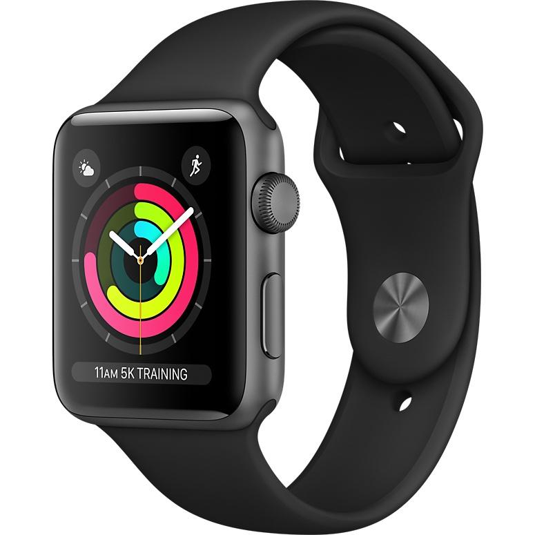 Умные часы Apple Watch Series 3 42мм, алюминий «серый космос», спортивный ремешок чёрного цветаУмные часы<br>Apple Watch S3 42mm Space Gray Aluminum Case, Black Sport Band<br><br>Цвет товара: Чёрный<br>Материал: Алюминий, фторэластомер, задняя панель из композитного материала, стекло Ion-X повышенной прочности<br>Цвета корпуса: серый<br>Модификация: 42 мм