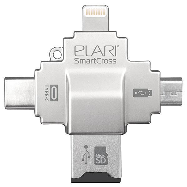 Картридер Elari SmartCrossФлешки для смартфонов и планшетов<br>Elari SmartCross - универсальный картридер для мобильных устройств и ПК.<br><br>Цвет товара: Серебристый<br>Материал: Металл