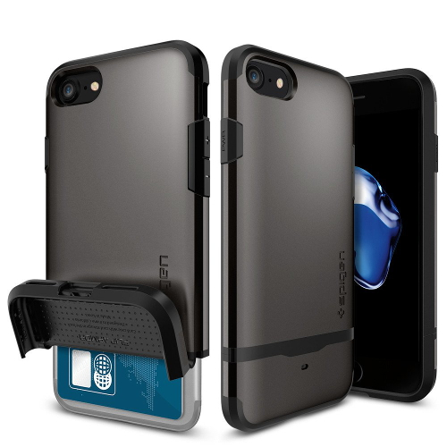 Чехол Spigen Flip Armor для iPhone 7/ iPhone 8 тёмный металлик (SGP-042CS20775)Чехлы для iPhone 7<br>Чехол Spigen Flip Armor для iPhone 7 (Айфон 7) тёмный металлик (SGP-042CS20775)<br><br>Цвет товара: Серый<br>Материал: Поликарбонат, полиуретан