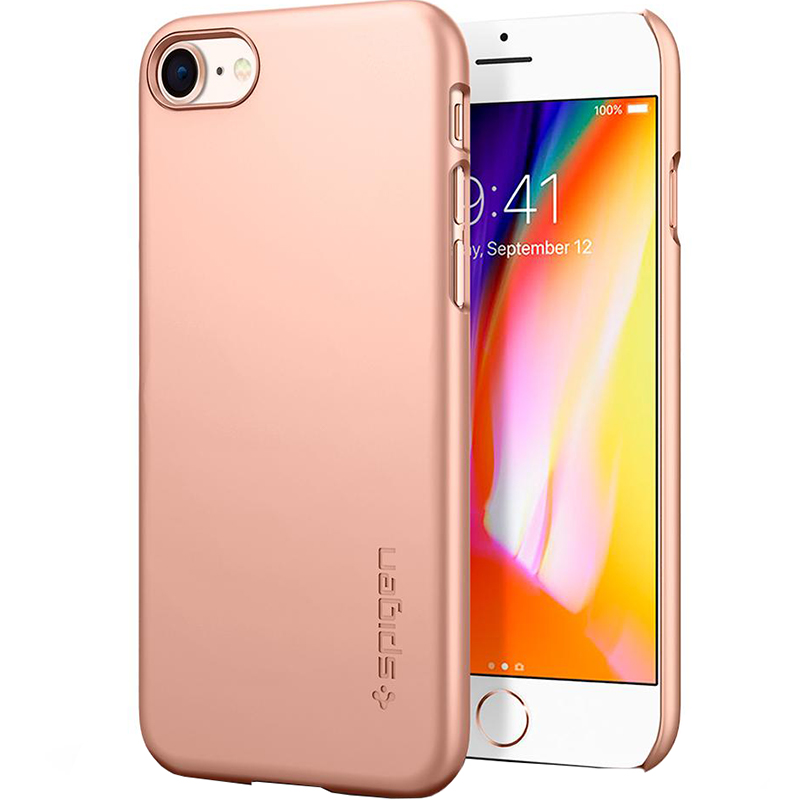 Чехол Spigen Thin Fit для iPhone 8 (Айфон 8) красное золото (SGP-054CS22568)Чехлы для iPhone 8<br>Spigen Thin Fit — это чехол с лёгким и свежим дизайном, который создан специально для iPhone 8!<br><br>Цвет: Золотой<br>Материал: Поликарбонат