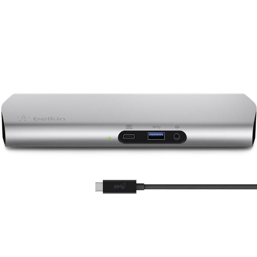 Док-станция Belkin USB-C Express Dock 3.1 HD with Cable (F4U093tt)Хабы - разветвители USB<br>Для всех девайсов на вашем рабочем столе нужна только одна Belkin USB-C Express Dock 3.1 HD!<br><br>Цвет товара: Серебристый<br>Материал: Металл, пластик