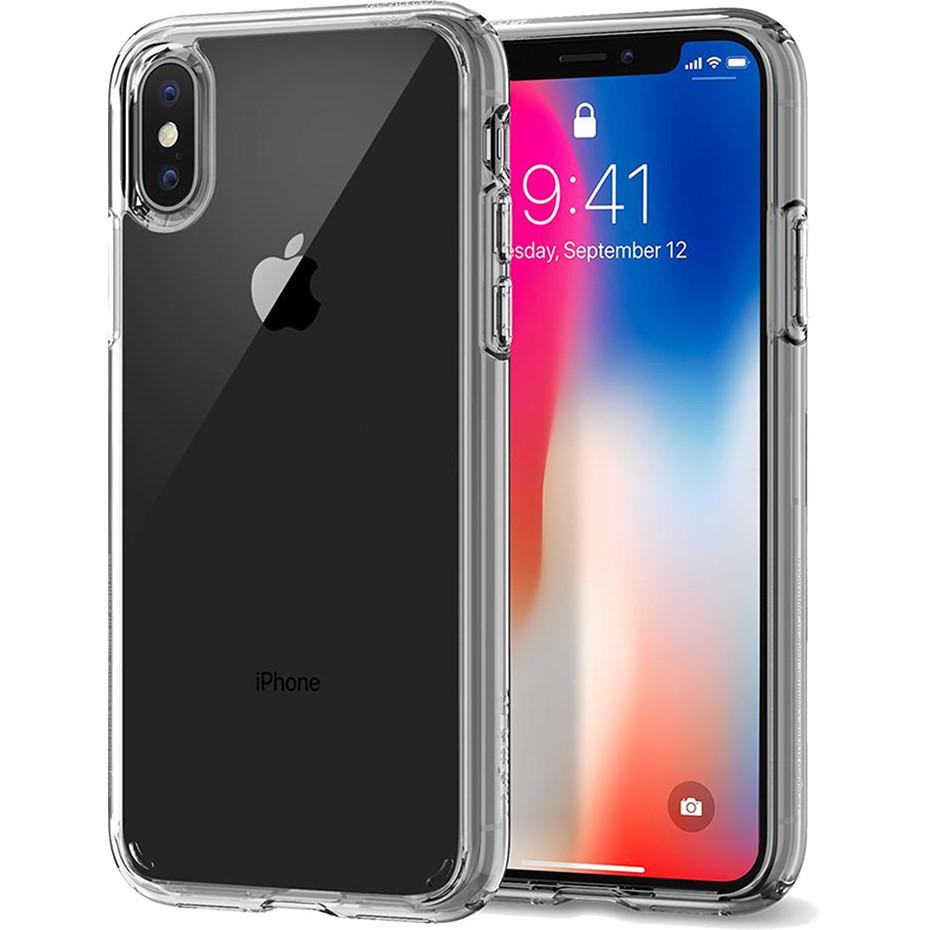 Чехол Spigen Case Ultra Hybrid для iPhone X кристально-прозрачный (057CS22127)Чехлы для iPhone X<br>Кристальная ясность и два слоя защиты для вашего iPhone X.<br><br>Цвет товара: Прозрачный<br>Материал: Термопластичный полиуретан, поликарбонат