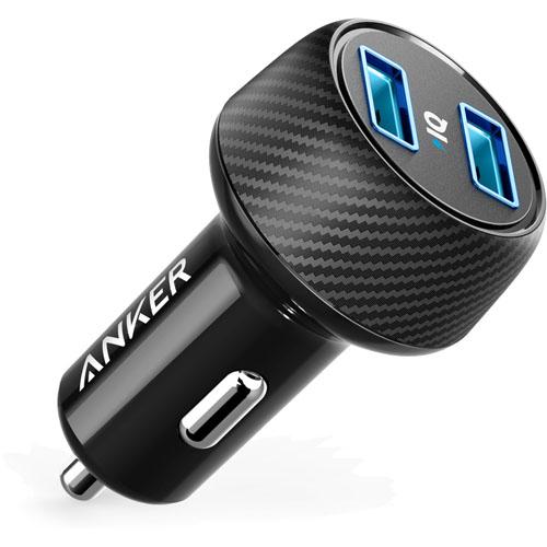 Автомобильное зарядное устройство Anker PowerDrive Elite 2 Ports (A2212011) чёрноеАвтозарядки<br>Anker PowerDrive Elite 2 оснащена двумя портами USB, что позволяет заряжать два устройства одновременно.<br><br>Цвет товара: Чёрный<br>Материал: Пластик, карбоновое волокно