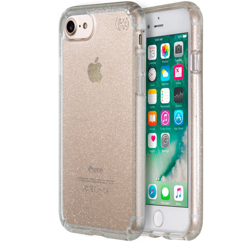 Чехол Speck Presidio Clear + Glitter для iPhone 7 (Айфон 7) прозрачный/золотистыйЧехлы для iPhone 7<br>Чехол Speck Almond Presidio Clear + Glitter для iPhone 7 - прозрачный золотой<br><br>Цвет товара: Золотой<br>Материал: Поликарбонат