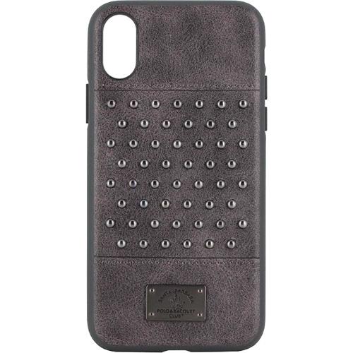 Чехол-накладка Santa Barbara Polo &amp; Racquet Club Stacatto Series для iPhone X серыйЧехлы для iPhone X<br>Сочетание высококачественной кожи и металла делаю чехол поистине роскошным аксессуаром для вашего iPhone X!<br><br>Цвет: Серый<br>Материал: Кожа, пластик, металл