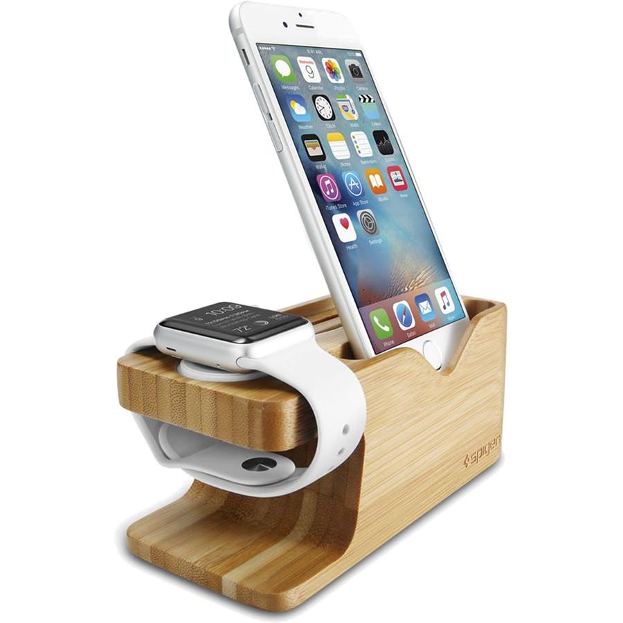 Док-станция Spigen Stand S370 для Apple Watch + iPhone бамбук (000ST20295)Докстанции Apple Watch<br>Эта подставка станет не только функциональным аксессуаром, но и украшением вашего рабочего стола. Spigen Stand S370 предназначена для одновременн...<br><br>Цвет товара: Коричневый<br>Материал: Бамбук, силикон