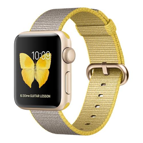 Часы Apple Watch Series 2 38 мм, золотистый алюминий, ремешок из плетёного нейлона жёлтый/светло-серыйУмные часы<br>Часы Apple Watch Series 2 38 мм, золотистый алюминий, ремешок из плетёного нейлона жёлтый/светло-сер<br><br>Цвет товара: Жёлтый<br>Материал: Золотистый алюминий серии 7000 анодированный<br>Модификация: 38 мм