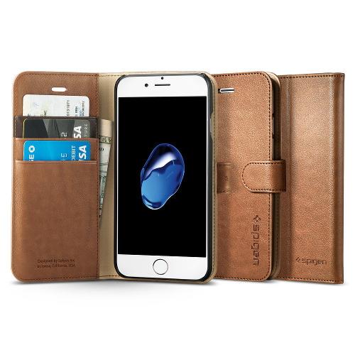 Чехол Spigen Wallet S для iPhone 7 (Айфон 7) коричневый (SGP-042CS20546)Чехлы для iPhone 7<br><br><br>Цвет товара: Коричневый<br>Материал: Поликарбонат, полиуретановая кожа