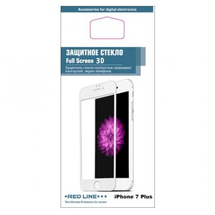 Защитное стекло Red Line 3D для iPhone 7 Plus белоеСтекла/Пленки на смартфоны<br>Защитное стекло является одним из важнейших аксессуаров к вашему iPhone 7 Plus.<br><br>Цвет товара: Белый<br>Материал: Стекло