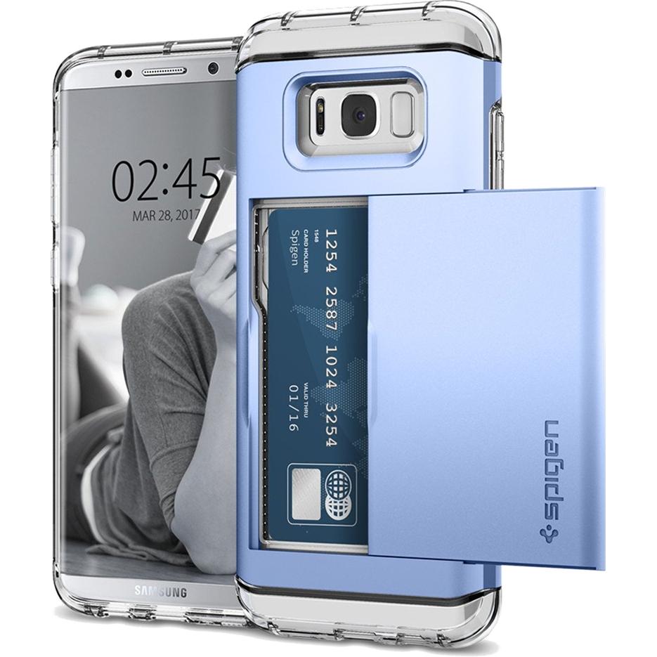 Чехол Spigen Crystal Wallet для Samsung Galaxy S8 Plus голубой коралл (571CS21118)Чехлы для Samsung Galaxy S8/S8 Plus<br>Spigen Crystal Wallet — это два прочнейших слоя защиты от повреждений для вашего смартфона, плюс отделение для ваших кредитных карт или визиток.<br><br>Цвет товара: Голубой<br>Материал: Термопластичный полиуретан