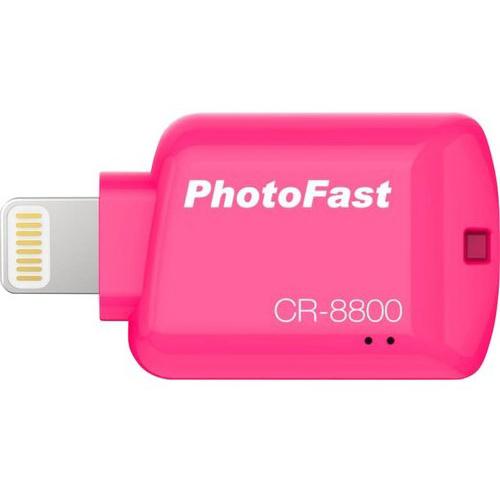 Картридер PhotoFast CR-8800 для iOS розовыйФлешки для смартфонов и планшетов<br>Благодаря PhotoFast CR-8800 все данные будут всегда у вас под рукой!<br><br>Цвет: Розовый<br>Материал: Пластик