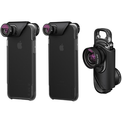 Комплект — линзы Olloclip Core Lens Set и чехлы Ollocase для iPhone 7 / iPhone 7 Plus чёрный от iCases