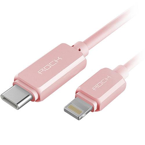 Кабель Rock Type-C/Lightning розовыйКабели Lightning<br>Кабель Rock позволит заряжать USB-C и Lightning устройства быстро и безопасно.<br><br>Цвет товара: Розовый<br>Материал: Пластик, металл