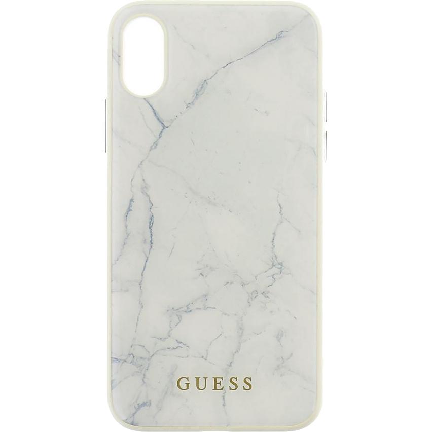 Чехол Guess Marble Collection Hard для iPhone X белый мраморЧехлы для iPhone X<br>Чехол Guess из коллекции Marble Collection станет прекрасным дополнением к вашему iPhone.<br><br>Цвет товара: Белый<br>Материал: Поликарбонат, термопластичный полиуретан
