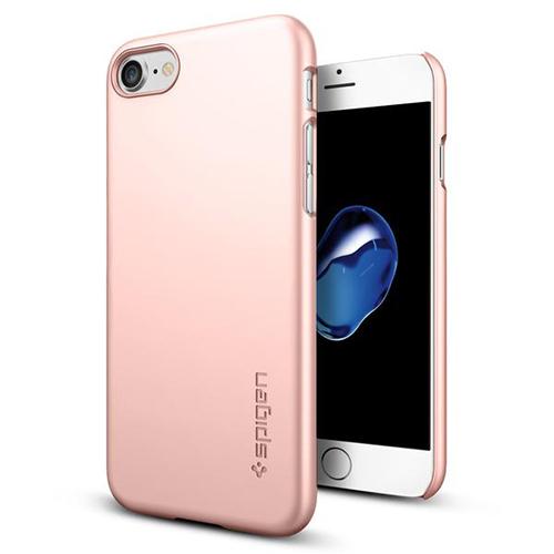 Чехол Spigen Thin Fit для iPhone 7/ iPhone 8 розовое золото (SGP-042CS20429)Чехлы для iPhone 7<br>Ультратонкий и невероятно лёгкий, словно пёрышко, чехол Spigen Thin Fit практически не прибавит объёма и веса мощному смартфону.<br><br>Цвет товара: Розовое золото<br>Материал: Поликарбонат