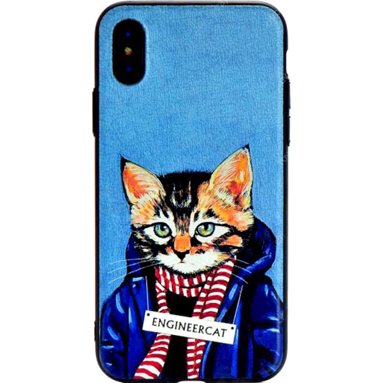 Чехол Remax Creative Case для iPhone X Engineer CatЧехлы для iPhone X<br>Remax Creative Case изготовлены из высококачественного силикона с иллюстрациями от Heather Mattoon.<br><br>Цвет товара: Синий<br>Материал: Силикон