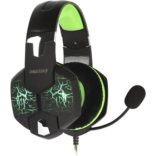 Игровая гарнитура Smartbuy Rush Taipan чёрный/зелёный (SBHG-3100)Полноразмерные наушники<br>Игровая гарнитура Smartbuy Rush Taipan чёрный/зелёный (SBHG-3100)<br><br>Цвет товара: Зелёный<br>Материал: Пластик, металл, велюр