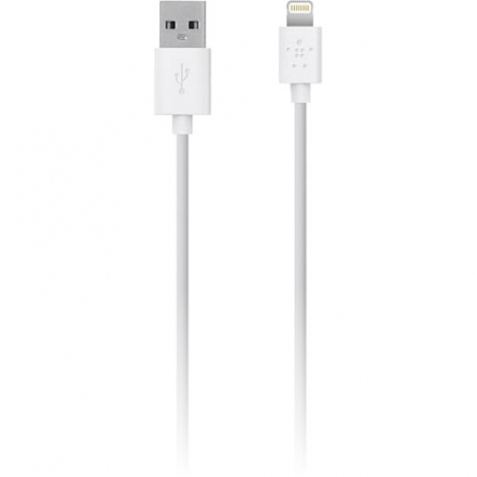 Кабель Belkin MIXIT ChargeSync Cable Lightning-USB (3 метра)Кабели и переходники<br>Кабель Belkin Lightning to USB CAble White (3m)<br><br>Материал: Пластик, металл