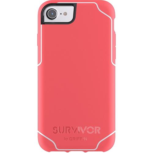 Чехол Griffin Survivor Journey для iPhone 7 (Айфон 7) коралловый/белыйЧехлы для iPhone 7<br>Чехол Griffin Survivor Journey для iPhone 7/6/6s - коралловый/белый<br><br>Цвет товара: Красный<br>Материал: Пластик