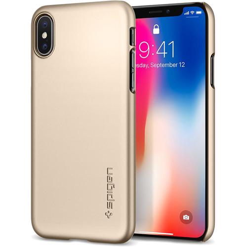 Чехол Spigen Thin Fit  для iPhone X шампань (057CS22110)Чехлы для iPhone X<br>Spigen Thin Fit — это чехол с лёгким и свежим дизайном, который создан специально для iPhone X!<br><br>Цвет товара: Золотой<br>Материал: Поликарбонат