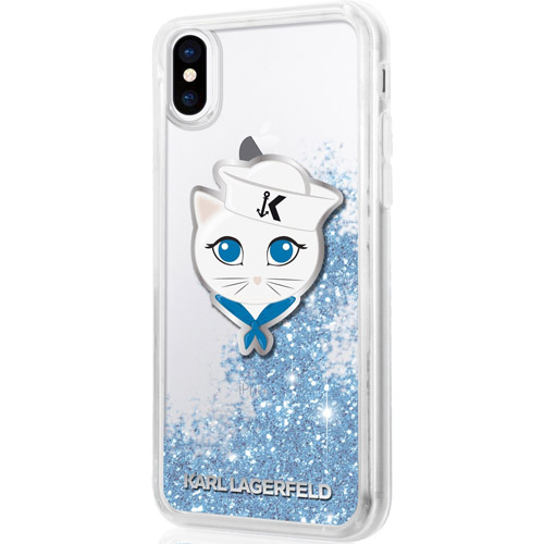Чехол Karl Lagerfeld Liquid Glitter Sailor Choupete для iPhone X прозрачный/голубойЧехлы для iPhone X<br>Чехол Karl Lagerfeld Liquid Glitter — это больше чем чехол, это настоящее украшение!<br><br>Цвет товара: Голубой<br>Материал: Термопластичный полиуретан