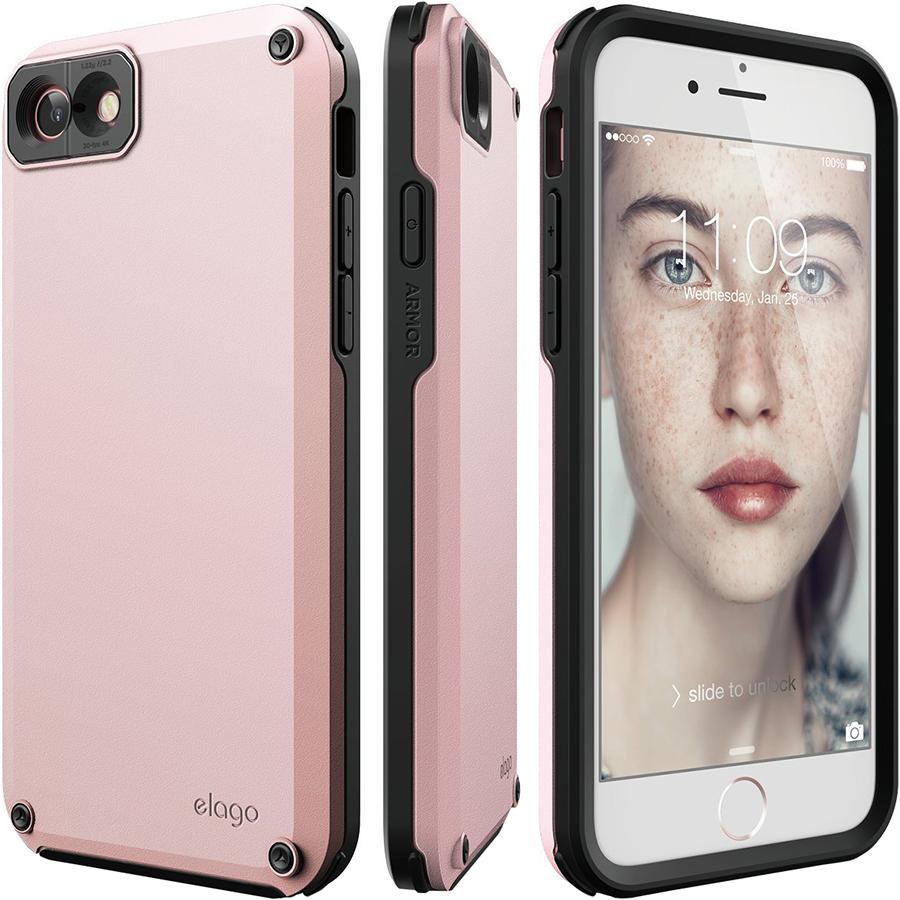 Чехол Elago Armor Hard TPU/PC для iPhone 7 / 8 розовыйЧехлы для iPhone 7<br>Благодаря Elago Armor Hard TPU/PC под надёжной защитой будет не только ваш смартфон, но и ваши ценности!<br><br>Цвет: Розовый<br>Материал: Поликарбонат, полиуретан