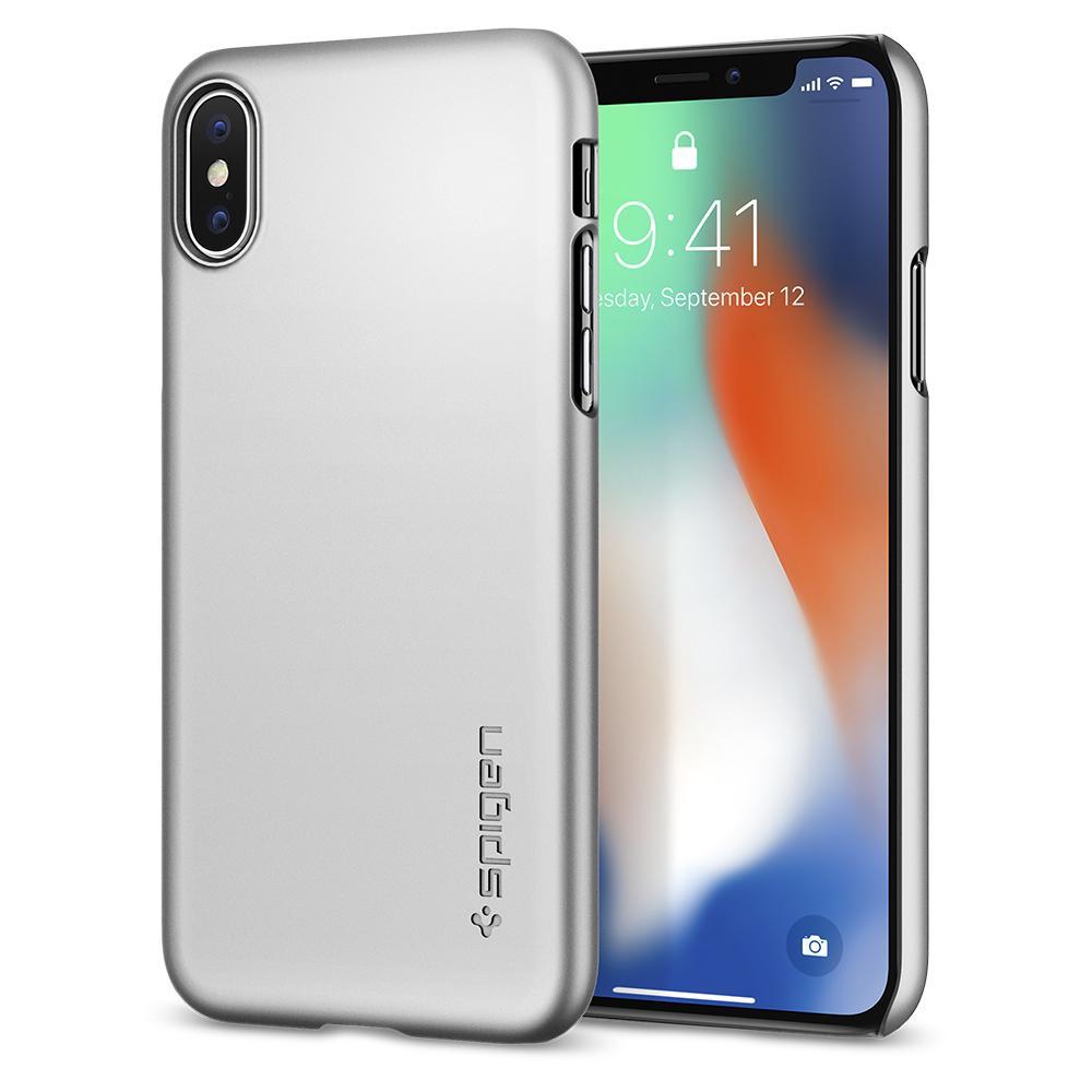 Чехол Spigen Thin Fit  для iPhone X серебристый (057CS22113)Чехлы для iPhone X<br>Spigen Thin Fit — это чехол с лёгким и свежим дизайном, который создан специально для iPhone X!<br><br>Цвет товара: Серебристый<br>Материал: Поликарбонат