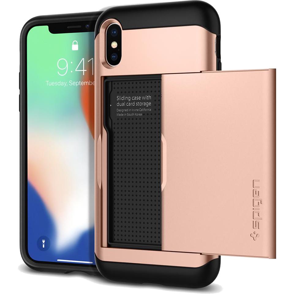 Чехол Spigen Case Slim Armor CS для iPhone X розовый Blush Gold (057CS22157)Чехлы для iPhone X<br>Spigen предлагает вам отличный аксессуар для вашего iPhone X — защитный чехол и бумажник Slim Armor CS.<br><br>Цвет товара: Розовый<br>Материал: Термопластичный полиуретан, поликарбонат