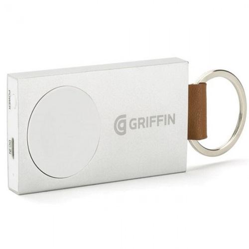 Портативный аккумулятор в виде брелока Griffin Travel Power Bank для Apple WatchДокстанции Apple Watch<br>Griffin Travel Power Bank — небольшой брелок для ключей, который можно носить в кармане джинсов, куртки или, допустим, в рюкзаке.<br><br>Цвет товара: Белый<br>Материал: Пластик, натуральная кожа, сталь