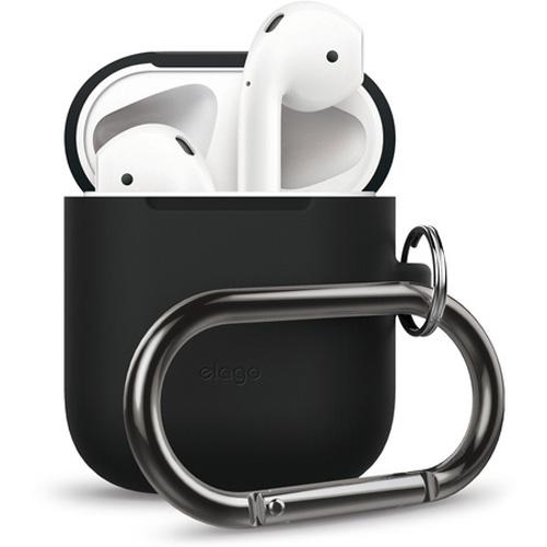 Чехол Elago Silicone Hang Case для AirPods чёрныйКабели и аксессуары для наушников<br>Практичный и надежный чехол справится на отлично с защитой ваших AirPods в зарядном футляре!<br><br>Цвет: Чёрный<br>Материал: Силикон, металл