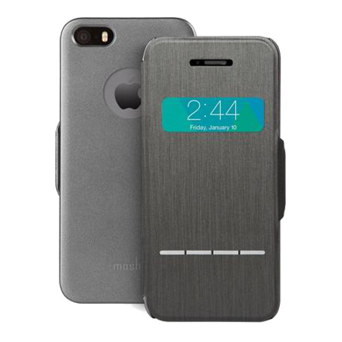 Чехол Moshi SenseCover для iPhone 5/5S/SE графитЧехлы для iPhone 5/5S/SE<br>Moshi SenseCover — безупречное слияние защиты и свежих инженерных идей. Чехол-книжка с сенсорным покрытием позволяет использовать многие функции...<br><br>Цвет товара: Серый<br>Материал: Поликарбонат, полиуретановая кожа