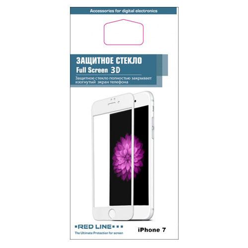 Защитное стекло Red Line 3D для iPhone 7 белоеСтекла/Пленки на смартфоны<br>Защитное 3D стекло RED LINE для iPhone 7 [4,7] - белая рамка<br><br>Цвет товара: Белый<br>Материал: Стекло