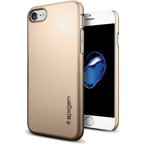 Чехол Spigen Thin Fit для iPhone 7 (Айфон 7) шампань (SGP-042CS20732)Чехлы для iPhone 7/7 Plus<br>Ультратонкий и невероятно лёгкий, словно пёрышко, чехол Spigen Thin Fit практически не прибавит объёма и веса мощному смартфону.<br><br>Цвет товара: Золотой<br>Материал: Поликарбонат