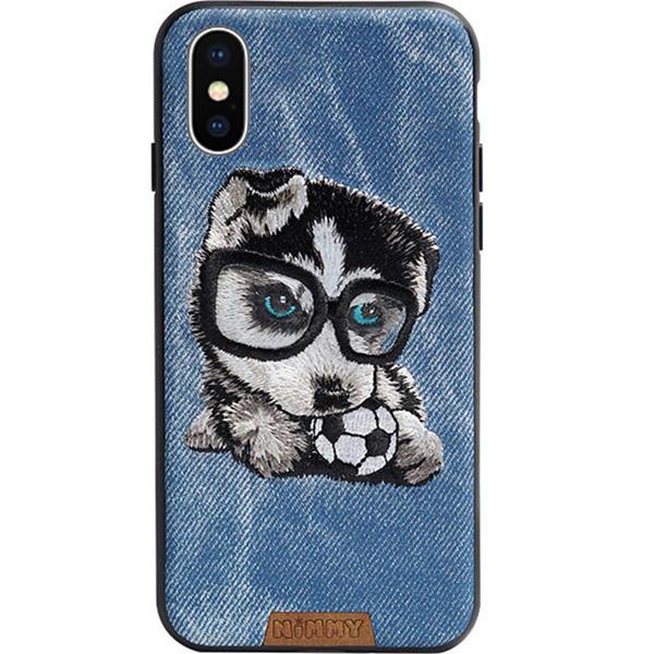 Чехол Nimmy Pet Denim для iPhone X (Щенок с мячом) синийЧехлы для iPhone X<br>Nimmy Pet Denim притягивает взгляд окружающих с первой секунды.<br><br>Цвет: Синий<br>Материал: Пластик, силикон, текстиль