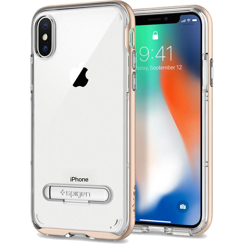 Чехол Spigen Crystal Hybrid для iPhone X золотистый (057CS22145)Чехлы для iPhone X<br>Сочетание прочной панели из поликарбоната и гибкого бампера из термопластичного полиуретана убережёт ваш смартфон не только от пыли и цар...<br><br>Цвет товара: Золотой<br>Материал: Термопластичный полиуретан, поликарбонат