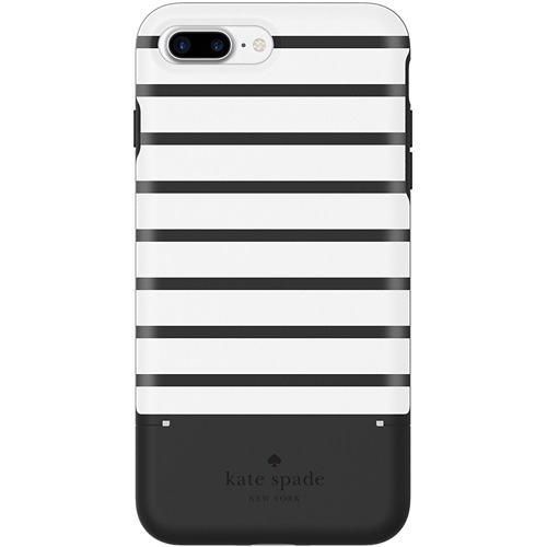 Чехол Kate Spade New York Credit Card Case для iPhone 7 Plus / 8 Plus (Surprise Stripe) чёрный/белыйЧехлы для iPhone 7 Plus<br>Стильный и функциональный чехол Kate Spade New York с оригинальной текстурой и секретным отделением для карт является превосходной комбинацией ст...<br><br>Цвет товара: Чёрный<br>Материал: Пластик