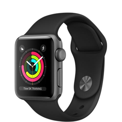 Умные часы Apple Watch Series 3 38мм, алюминий «серый космос», спортивный ремешок чёрного цветаУмные часы<br>Apple Watch S3 38mm Space Gray Aluminum Case, Black Sport Band<br><br>Цвет товара: Чёрный<br>Материал: Алюминий, фторэластомер, задняя панель из композитного материала, стекло Ion-X повышенной прочности<br>Цвета корпуса: серый<br>Модификация: 38 мм