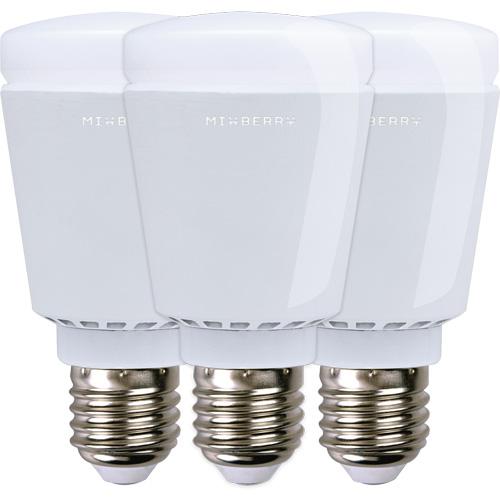 Набор умных ламп Mixberry Lightmania LED Smart Lamp E27 (MSL7RGB327) в упаковке 3 штукиУмные лампы<br>Mixberry LED Smart Lamp E27 - это светодиодная умная лампа, которая управляется с помощью устройств на базе IOS или Android по Bluetooth.<br><br>Цвет товара: Белый<br>Материал: Металл, керамика
