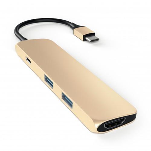 Переходник Satechi Slim Aluminum Type-C Multi-Port Adapter (4K HDMI, сквозной порт питания, 2х USB) золотой (ST-CMAG)Хабы - разветвители USB<br>Переходник Satechi Slim Aluminum Type-C Multi-Port Adapter позволяет подключать к MacBook c портом USB-C одновременно до двух устройств со стандартным USB-разъемом.<br><br>Цвет товара: Золотой<br>Материал: Металл