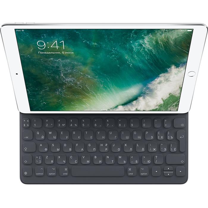 Клавиатура Apple Smart Keyboard для iPad Pro 10.5 с русскими буквамиБеспроводные клавиатуры<br>Уникальная клавиатура Smart Keyboard сочетает в себе множество современных технологий.<br><br>Цвет товара: Чёрный<br>Материал: Пластик, текстиль, металл<br>Модификация: iPad Pro 10.5