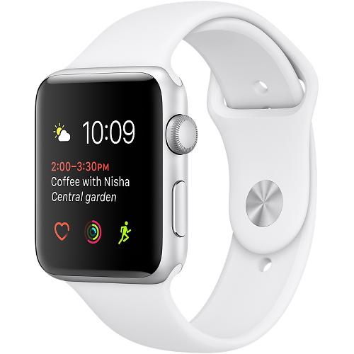 Часы Apple Watch Series 2 42 мм, серебристый алюминий, спортивный ремешок белый от iCases