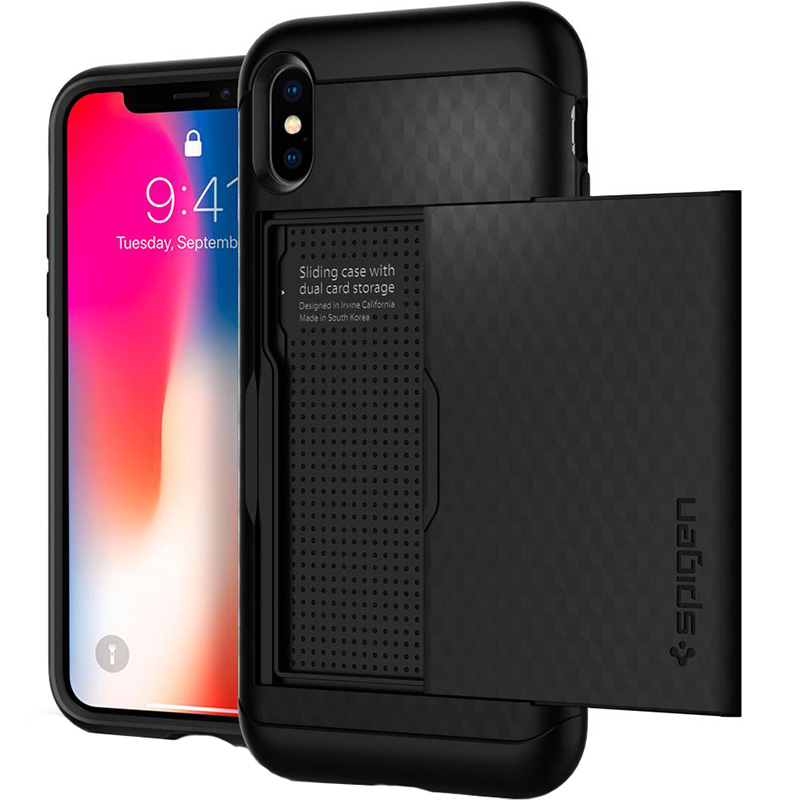 Чехол Spigen Crystal Wallet для iPhone X чёрный (057CS22151)Чехлы для iPhone X<br>Spigen Crystal Wallet — это два прочнейших слоя защиты от повреждений!<br><br>Цвет товара: Чёрный<br>Материал: Термопластичный полиуретан, поликарбонат<br>Модификация: iPhone 5.8