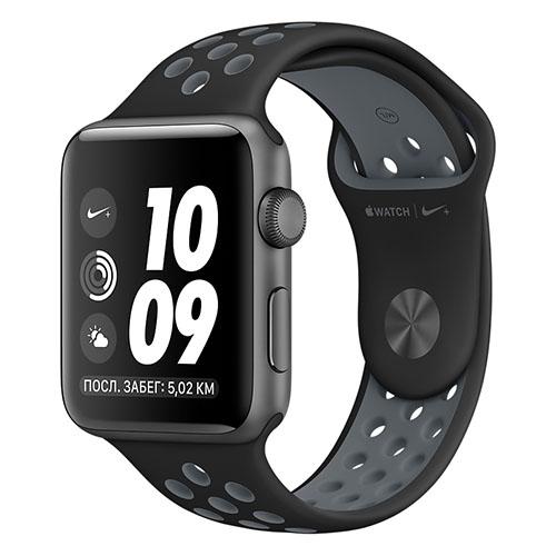 Умные часы Apple Watch Nike+ 42 мм, алюминий «серый космос», спортивный ремешок Nike «чёрный/холодный серый»Умные часы<br>Apple Watch Nike+ — новейшие и одни из самых инновационных в мире часы!<br><br>Цвет товара: Серый космос<br>Материал: Металл, силикон<br>Модификация: 42 мм