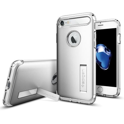 Чехол Spigen Slim Armor для iPhone 7 (Айфон 7) серебристый (SGP-042CS20305)Чехлы для iPhone 7<br>Spigen Slim Armor — это тончайшая двухслойная защита для вашего Айфон.<br><br>Цвет товара: Серебристый<br>Материал: Поликарбонат, полиуретан