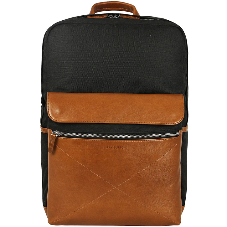 """Рюкзак Ray Button New Bergen для MacBook 15"""" чёрный/светло-коричневый (505C15)"""